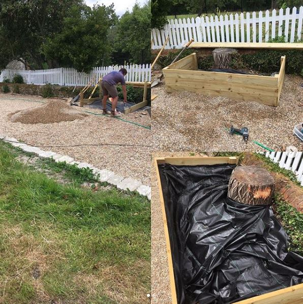Toby building a big raised flower bed